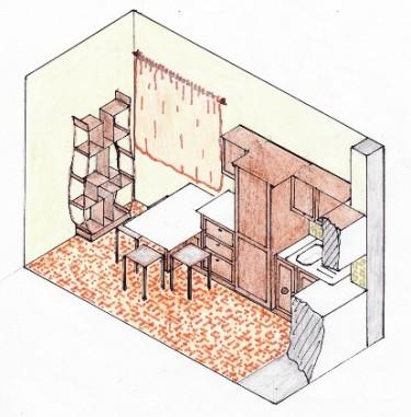 Schiţă de amenajare bucătărie clasică - reprezentare în spaţiu