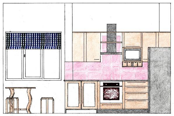 Schiţă de amenajare bucătărie modernă - secţiune pe lungime cu reprezentarea mobilierului