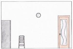 Schiţă de amenajare bucătărie modernă - secţiune pe lungime cu vedere spre uşa cu geam pictat
