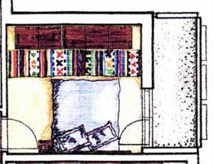 Schiţă de amenajare dormitor cu covoraş popular de lână ca decoraţiune.
