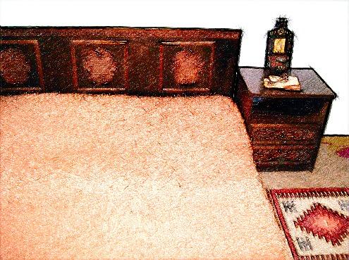 Schiţă de amenajare dormitor cu covoraş popular de iută ca decoraţiune.