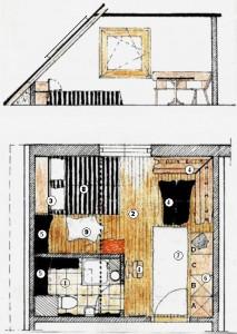 Amenajare rustică a unei camere mansardate de pensiune rurală: mobilier, materiale şi decoraţiuni