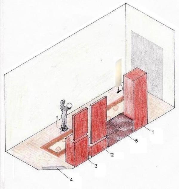 Schiţă de amenajare hol clasic pe lungime - reprezentare în spaţiu