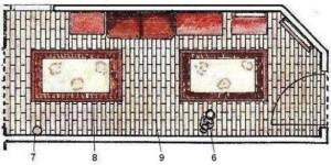 Schiţă de amenajare hol clasic pe lungime, cu planul amenajării.