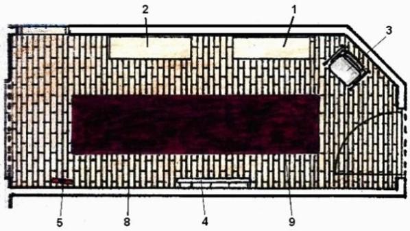 Schiţă de amenajare hol modern pe lungime, cu planul amenajării.