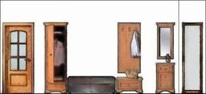 Schiţă de amenajare hol clasic - secţiune pe lungime cu reprezentarea mobilierului.