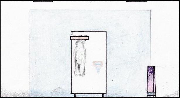 Schiţă de amenajare hol modern - secţiune pe lungime perete bleu.