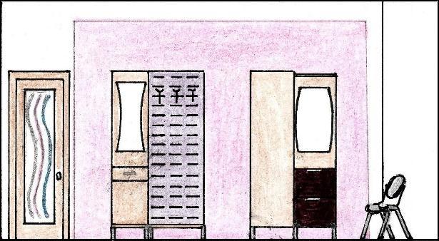 Schiţă de amenajare hol modern - secţiune pe lungime perete roz.