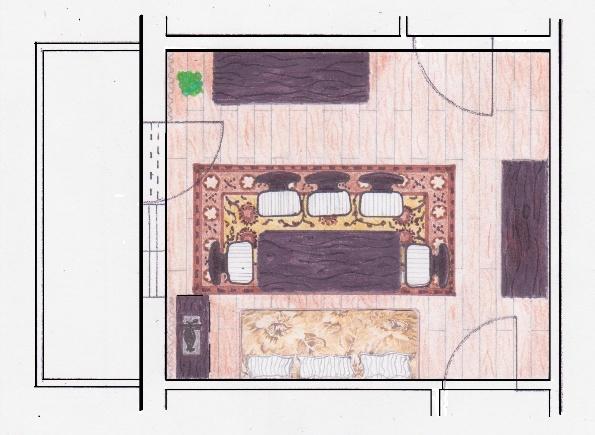 Schiţă de reamenajare cameră de zi mixtă, cu păstrarea mobilierului din locuință.