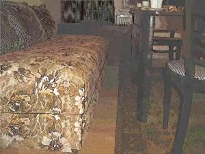 Canapea din 2 saltele identice suprapuse