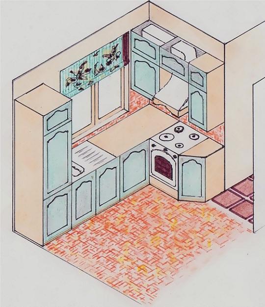 Schiţă de amenajare bucătărie verde - reprezentare în spaţiu