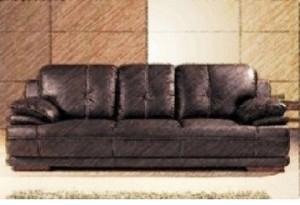 Canapea extensibilă din piele naturală, nuanța maroniu coniac.