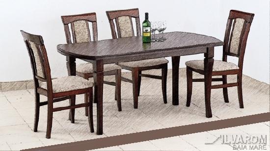 Masă de bucătărie extensibilă, cu 4 scaune, nuanța maroniu coniac.