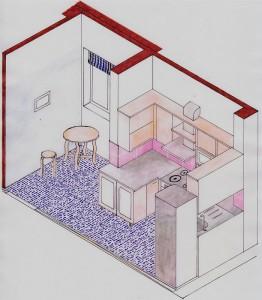 Schiţă de amenajare bucătărie modernă - reprezentare în spaţiu