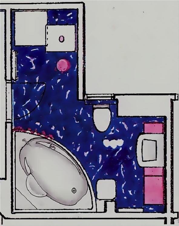 plan baie cu mobilier roz