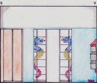 Vedere a peretelui cu usi glisante cu vitraliu.