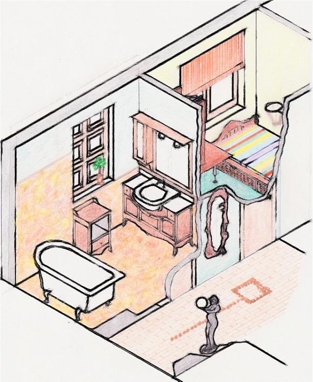 Schiţă de amenajare baie locuință stil clasic - reprezentare în spaţiu