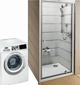 Schiță de amenajare baia de serviciu cu cabină de duș + mașină automată de spălat rufe.