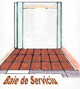 Schiță de amenajare hol pe lungime cu dressing alb și ușă intrare baie de serviciu.