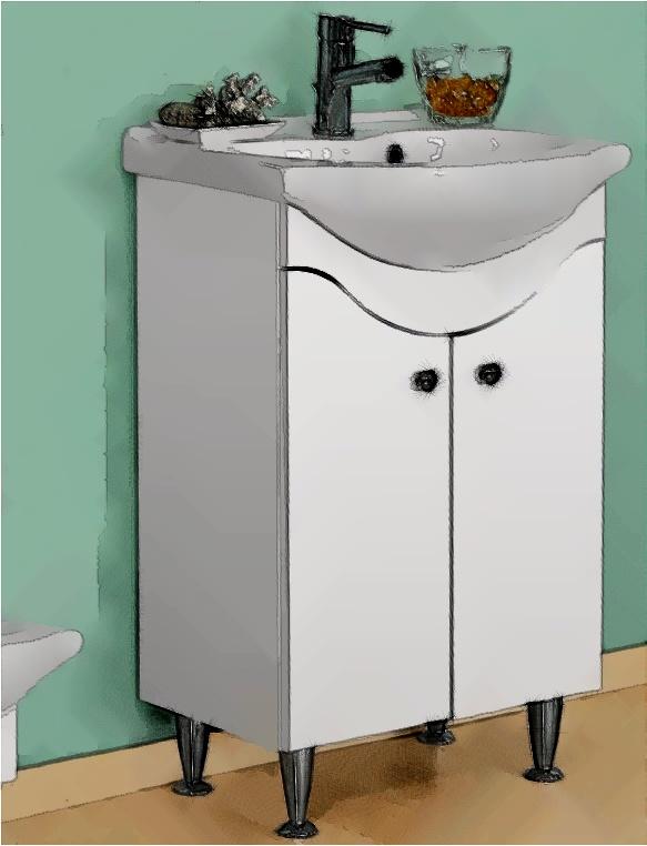 Schiță de amenajare baia de serviciu cu lavoar + mască lavoar de culoare albă.
