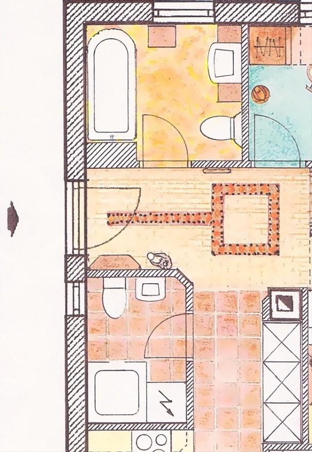 Schiţă de amenajare băi retro apartament, cu planul amenajării.