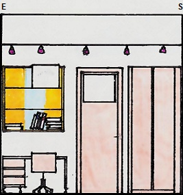Vedere a peretelui cu birou