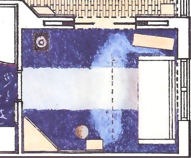 Plan amenajare dormitor modern cu uși glisante încastrate