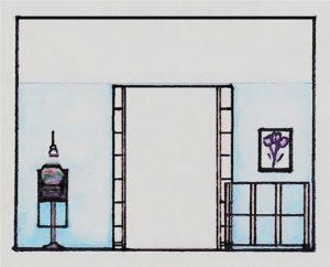 Schiță dormitor modern cu uși glisante încastrate în perete
