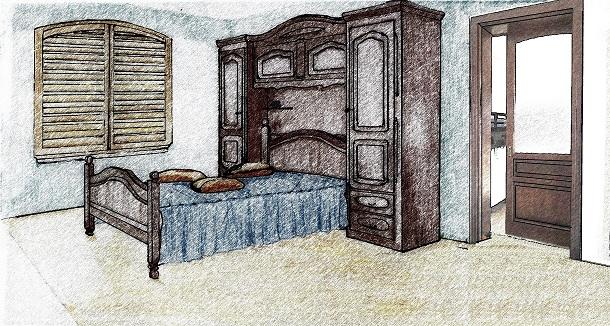 Schiță amenajare dormitor clasic cu ușă glisantă aparentă