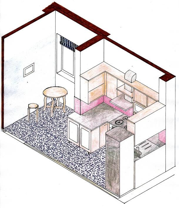 Schiță de Amenajare Bucătărie. Imagine 3d