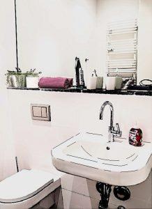 Schiță de amenajare baia de serviciu cu lavoar de culoare albă.
